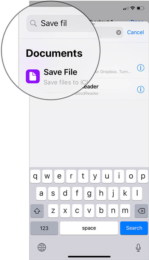 Enter Save File and Select it in iOS 12 Shortcut App