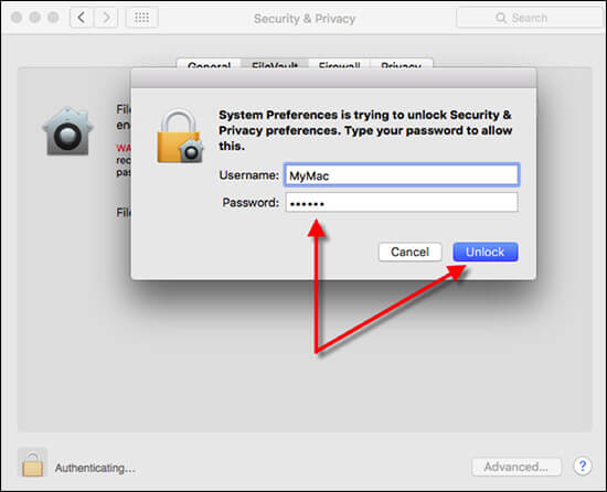 Enter System Password on Mac and Click on Unlock