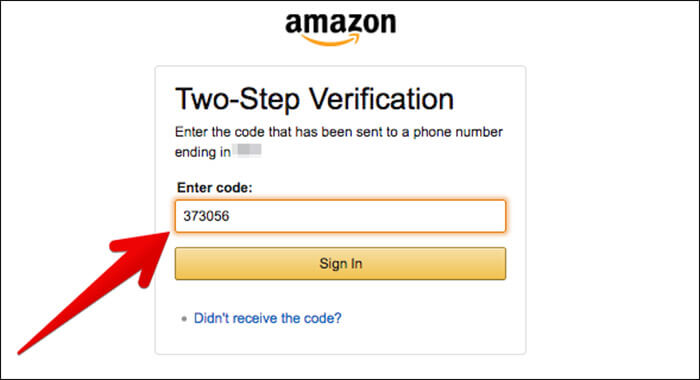 Enter Verification Code to Disable Two-Step Verification on Amazon