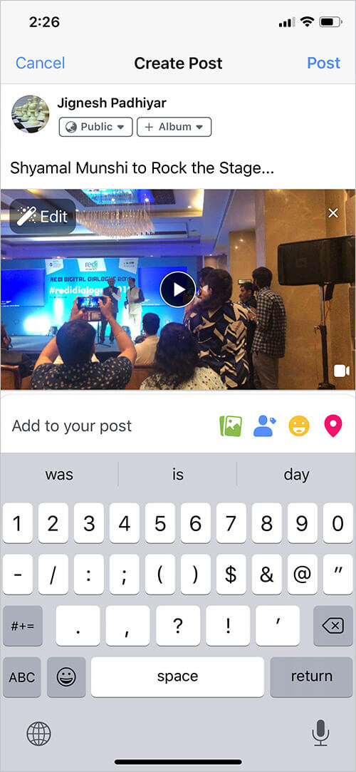 Enter Video Caption in Facebook on iPhone or iPad