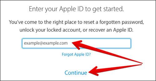 Enter Your Apple ID in iForgot.Apple.com