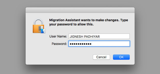 Enter Your System Password on Mac