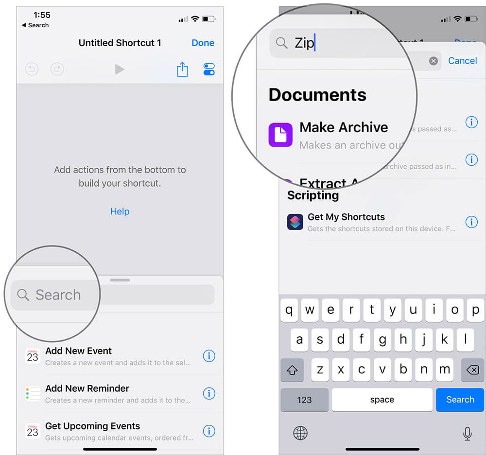 Enter Zip and Select Make Archive in iOS 12 Shortcut App