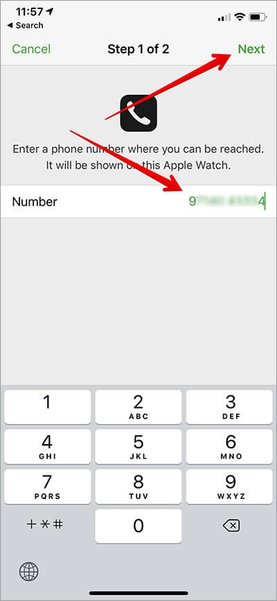 Enter a phone number and then tap on Next in Find My iPhone App