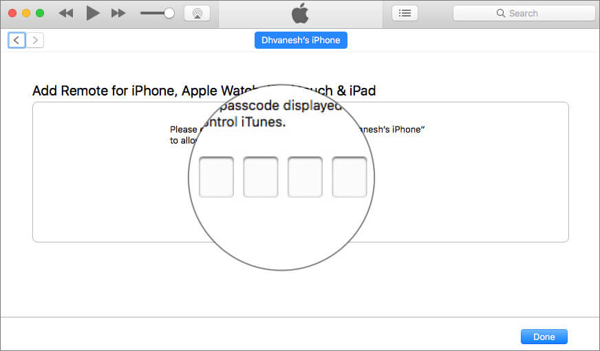 Enter four-digit code to Pair iPhone with iTunes Library Using iTunes Remote