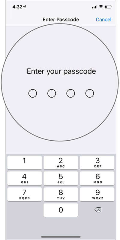 Enter passcode in Face ID Settings