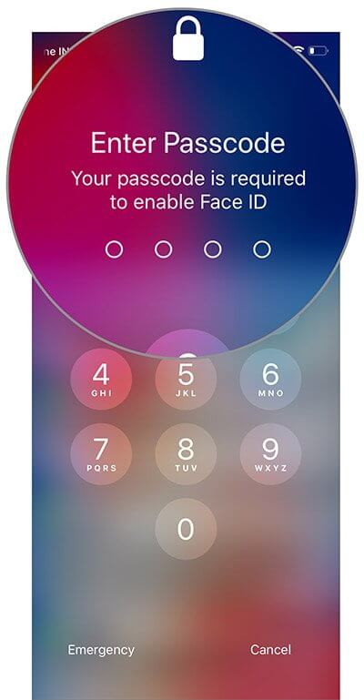 Enter passcode to re-enable Face ID