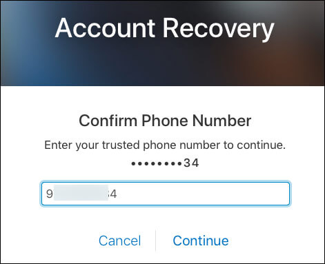 Enter phone number to receive a text message for recovery