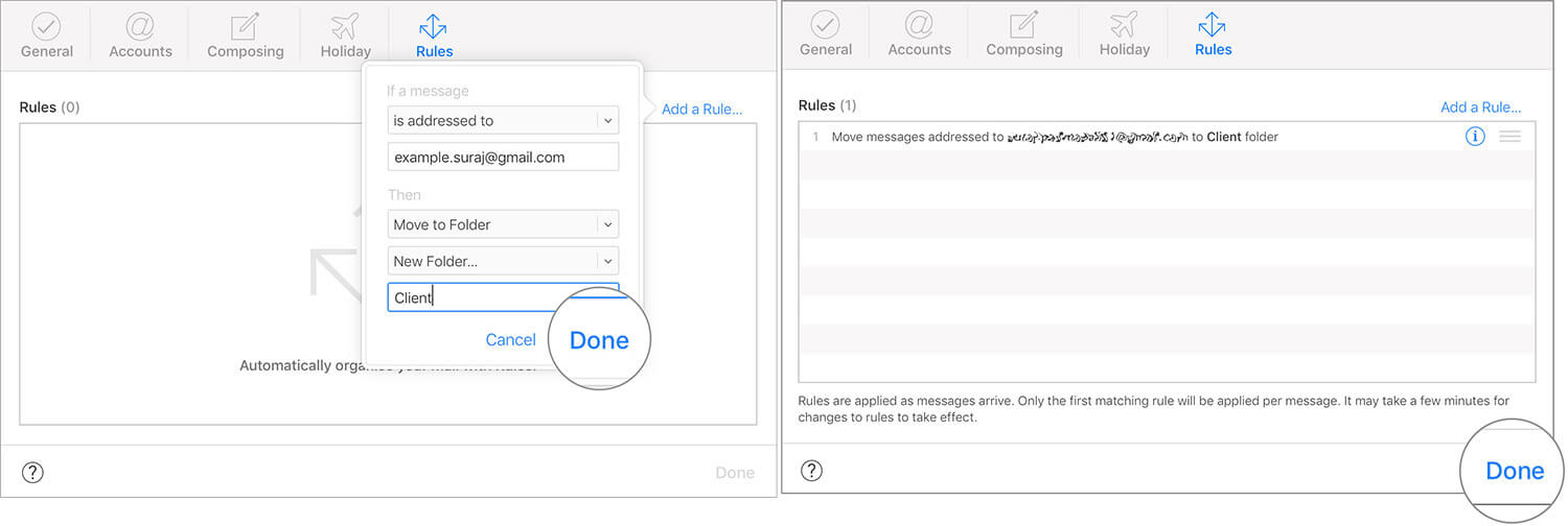 Enter the Email and Click on Done in iCloud Rules Settings