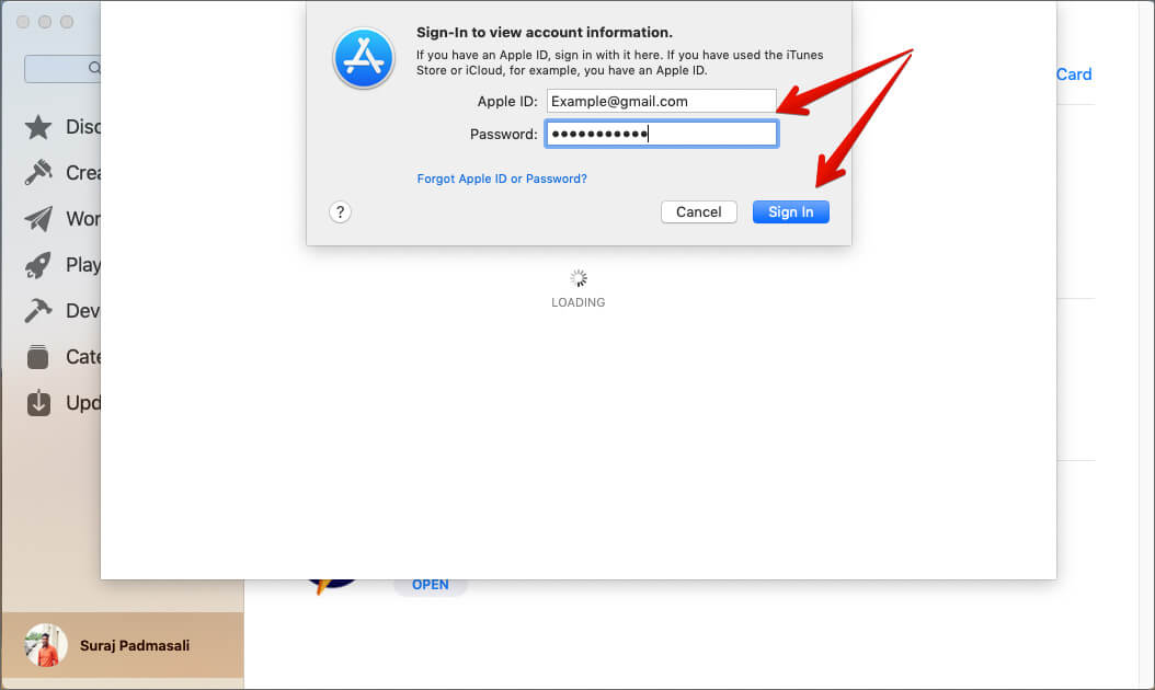 Enter your Apple ID Password to Sign in to Mac App Store