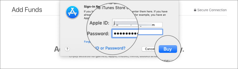Enter your Apple ID password and hit Buy to Add Funds to your Apple ID on Mac
