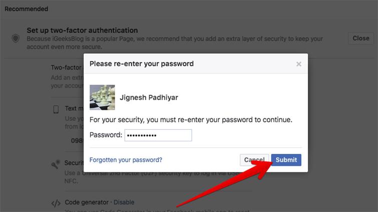 Enter your Facebook Password on Mac or Windows PC
