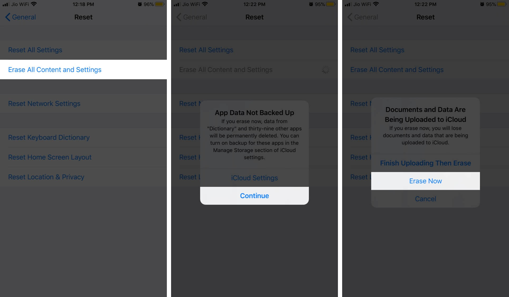 Erase All Content & Settings on iPhone