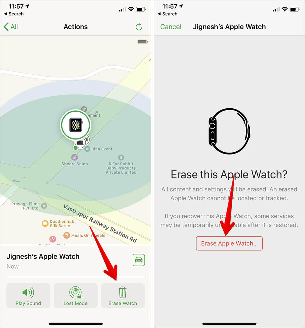 Erase Apple Watch from Find My iPhone