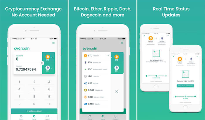 Evercoin iPhone and iPad Cryptocurrency Trading App Screenshot