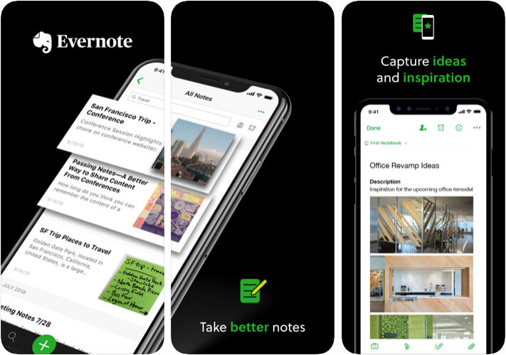 Evernot iPhone and iPad App Screenshot