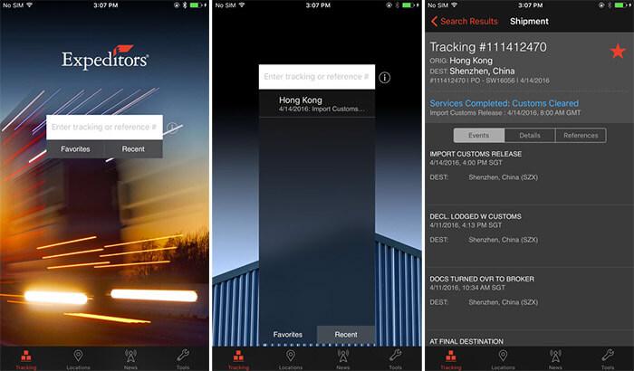 Expeditors Shipment Tracking iPhone and iPad App Screenshot