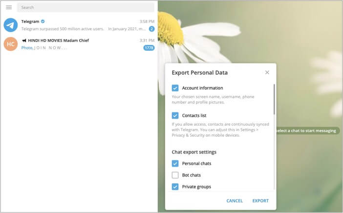 Export Chat History and select data you want to export on Mac