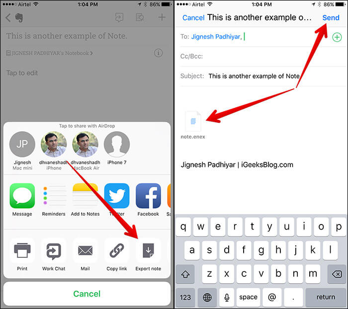 Export Evernotes from iPhone to Mail