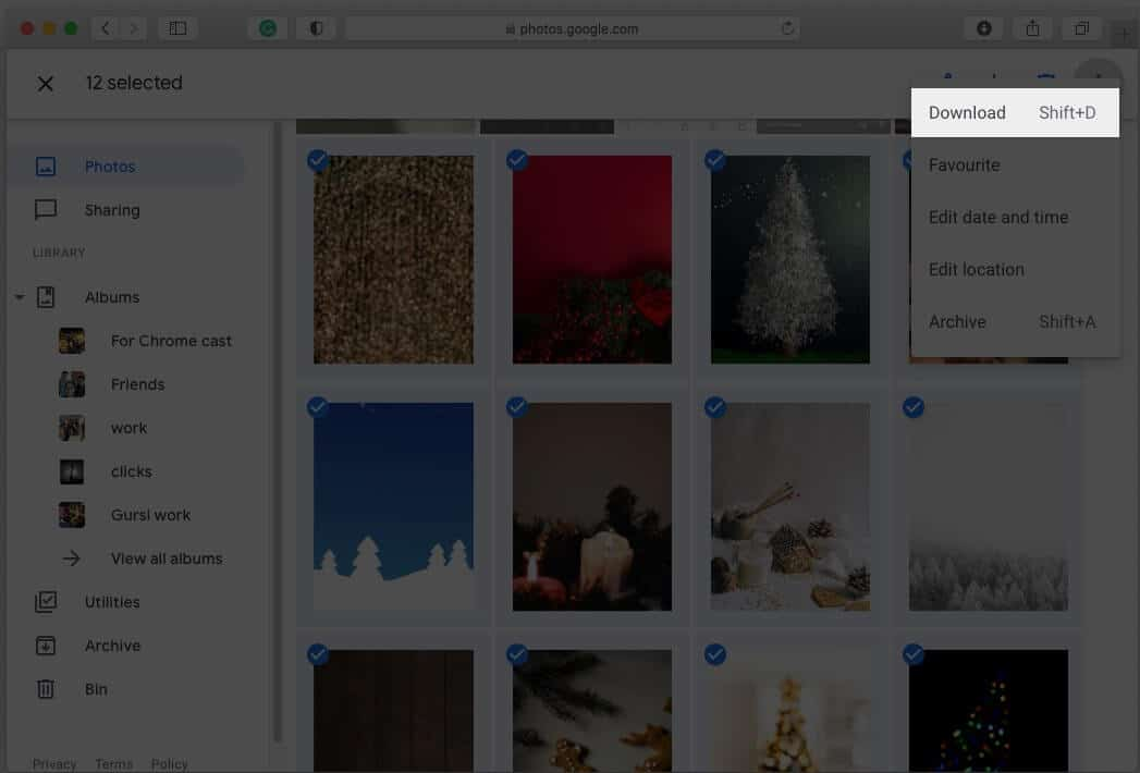 Export Google Photos library for Mac using web