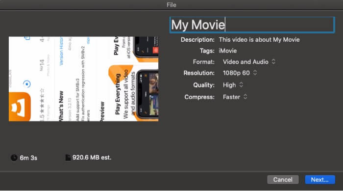 Export project in iMovie