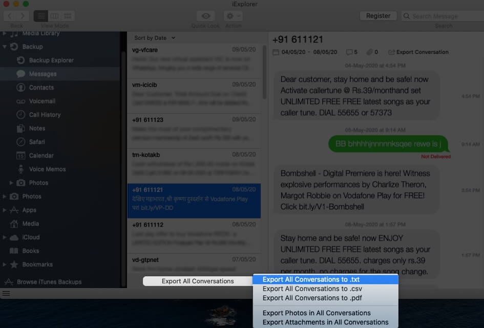 Extract Text Messages from iPhone Backup with iExplorer