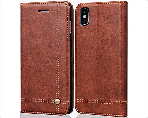 FLYEE Leather Wallet Case for iPhone XS Max