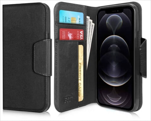 FYY Leather Folio Case for iPhone 12, 12 Pro, 12 Pro Max
