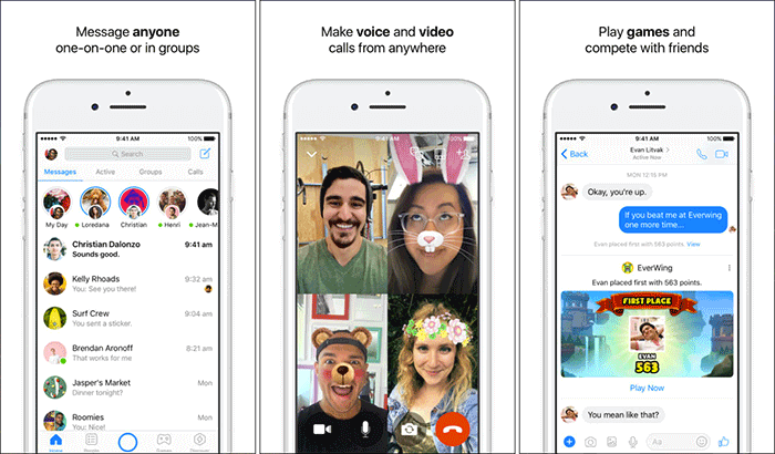 Facebook Messenger Social Media iPhone and iPad App Screenshot