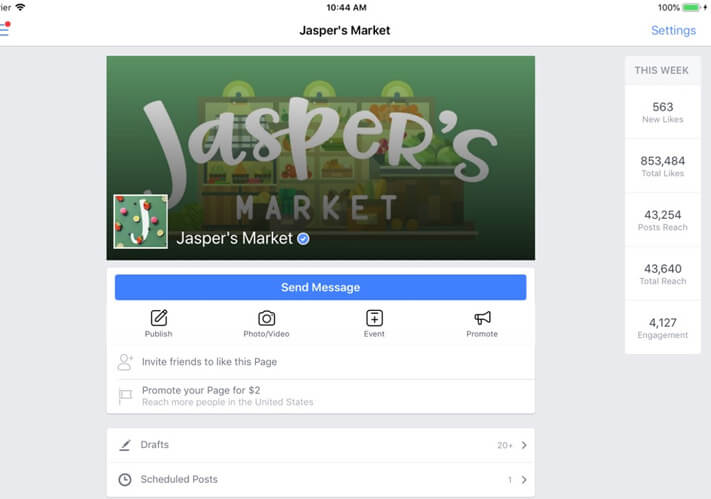 Facebook Pages Manager Marketer App for iPhone and iPad