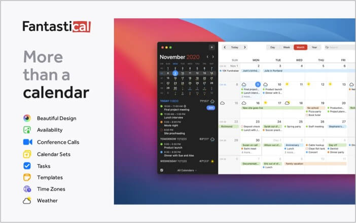 Fantastical Calendar and task app for Mac