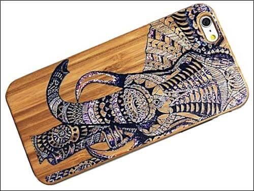 Fashion Case Elephant Design Bamboo Case for iPhone 6 Plus