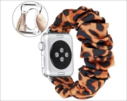 Fastgo Leopard Print Scrunchie Band for Apple Watch