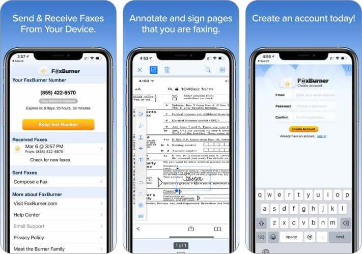 Fax Burner App for iPhone and iPad Screenshot