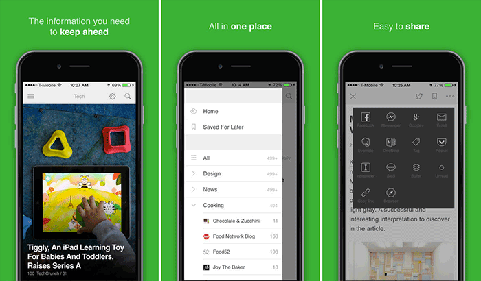 Feedly RSS Reader iPhone and iPad App Screenshot