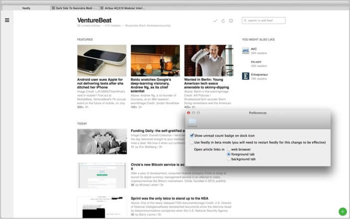 Feedly best RSS reader app for Mac