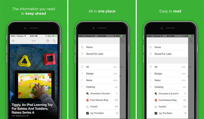 Feedly iPhone and iPad App Screenshot