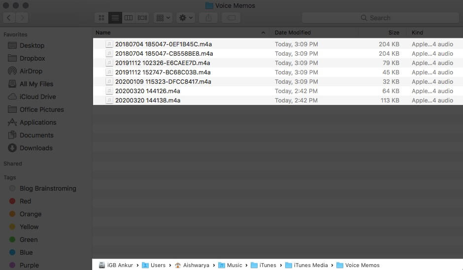 Find All Voice Memos on Mac Hard Drive