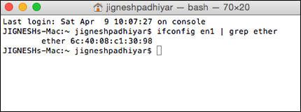 Find Mac Address in Mac OS X Using Terminal