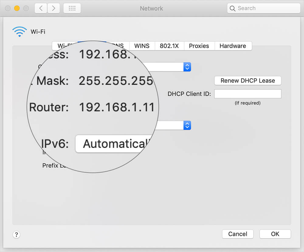 Find Router IP using Mac System Preferences