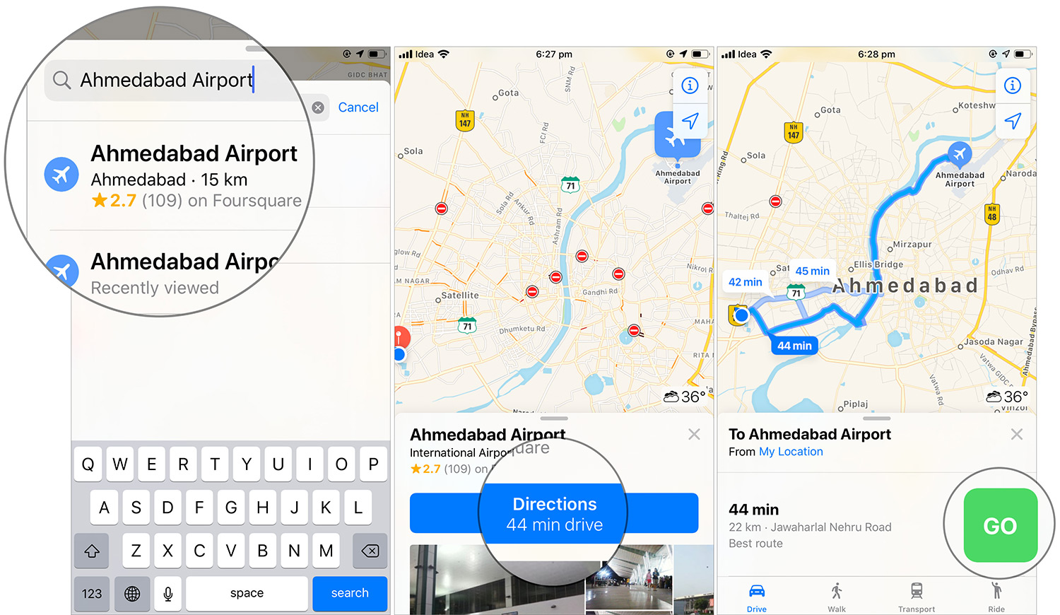 Find the destination and tap on Go to start to navigate in iOS 13 Apple Maps