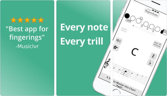 Finger Charts iPhone and iPad Flute Learning App Screenshot