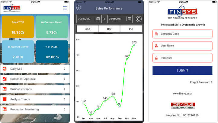 Finsys ERP Live iPhone and iPad App Screenshot