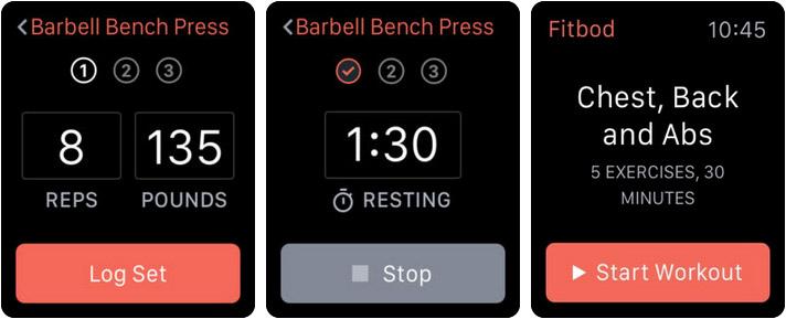 Fitbod Weight Lifting Workout Apple Watch App Screenshot