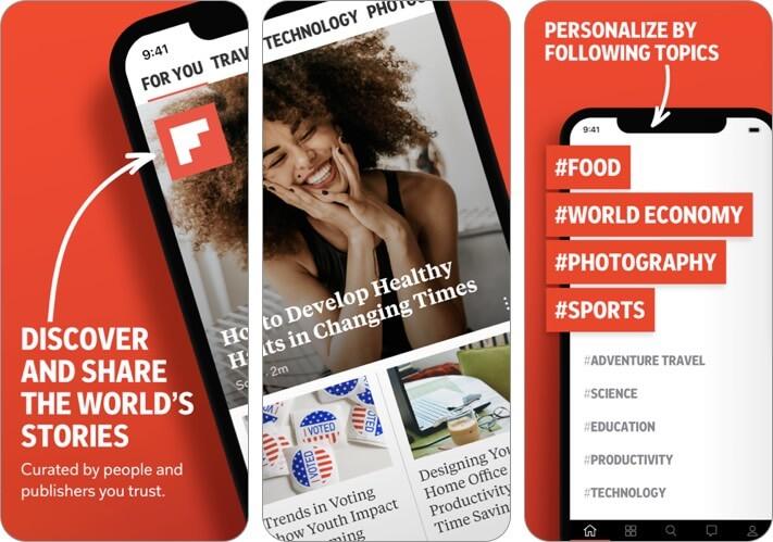Screenshot der Flipboard-Blogging-App