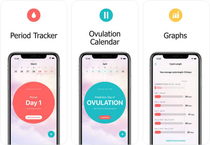 Flo Period & Ovulation Tracker iPhone and Apple Watch App Screenshot
