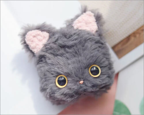 Fluffy Kitty Cat Plush Airpods Pro Case from kawaiiotome
