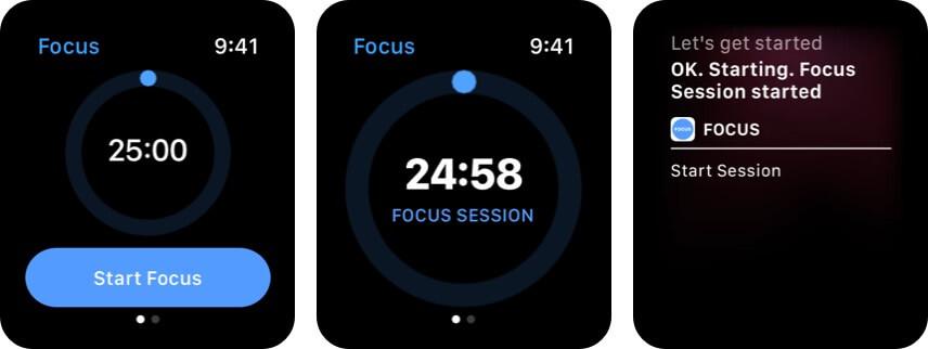 Focus Time Management Apple Watch app