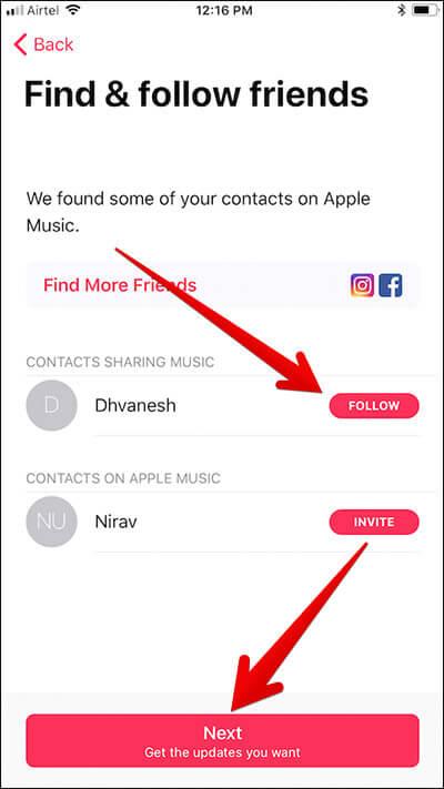 Follow People in Apple Music on iPhone