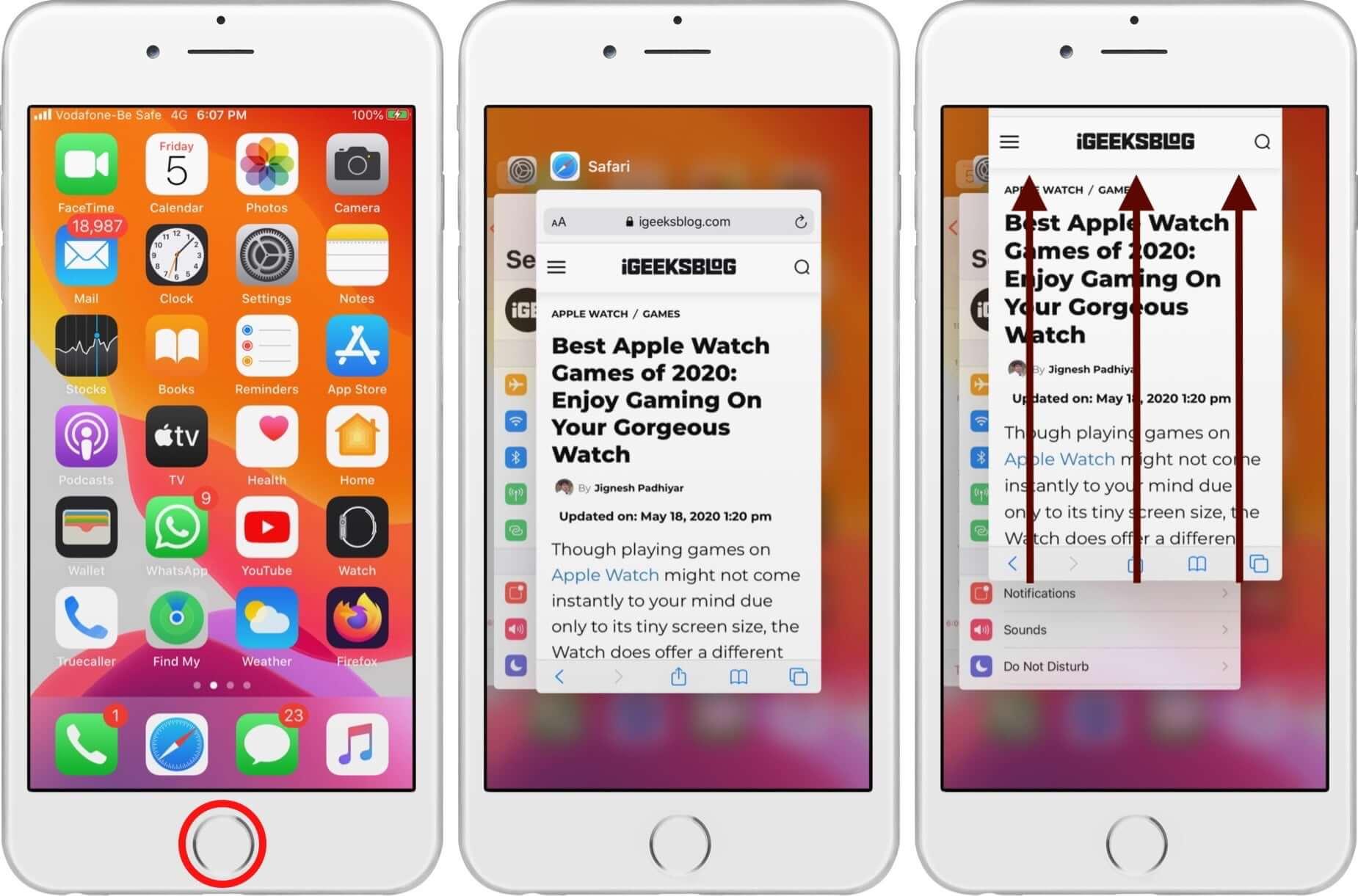 Force Quit Safari on iPhone